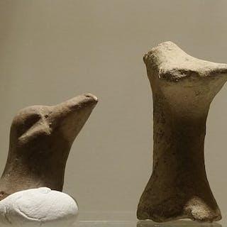 Altgriechisch, hellenistisch Terrakotta Vogelköpfe - 20×10×10 mm - (2)