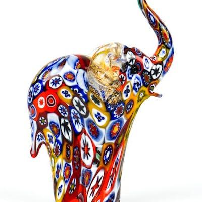 Livio Campanella (Murano) - Scultura Elefante murrina Millefiori - Vetro