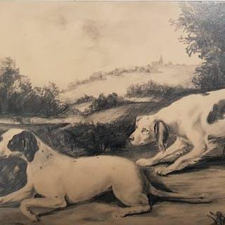 Filippo Palizzi 1818 1899 Cani Da Caccia Current Sales