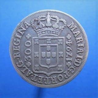 Azores, Portugal - Monarquia - D. Maria I (1786-1799) - 300 Reis - 1794- Silver