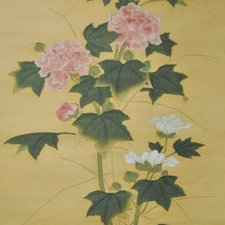 Painting Silk Flowers Cotton Rose Large Painting On Silk