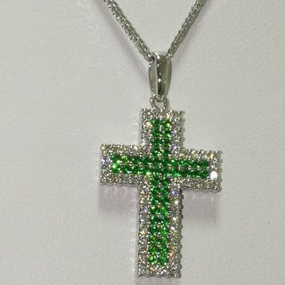 18 kt. White gold - Necklace with pendant - 0.46 ct Emerald - Diamond