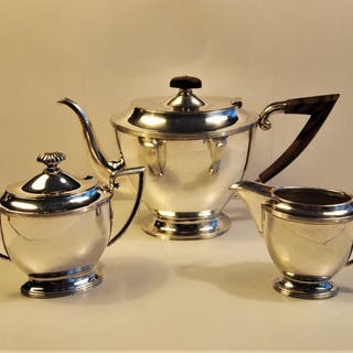 Art Deco 3 piece Coffee / tea service - .833 silver - Netherlands - 1900-1949