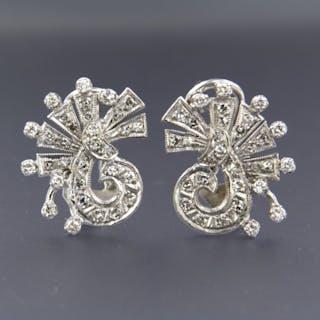 14 kt. White gold - Earrings - 1.40 ct Diamond