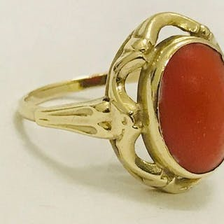 14 kt  - Ring Blood coral – Current sales – Barnebys com