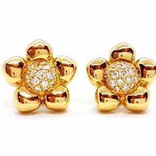 18 kts. Or jaune - Boucles d'oreilles Diamant