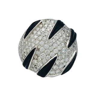 Cartier - 18 carats Or blanc - Bague Diamant - Onyx