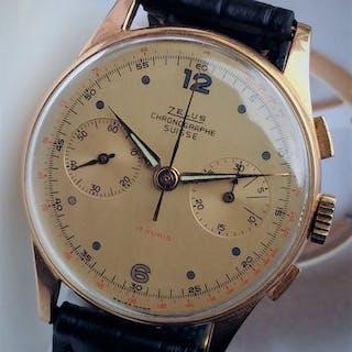 Chronographe Suisse Zelus-or 18 carats - Landeron 51...