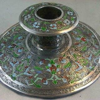 Bougeoir - Argent, Émail - Iran - XIXe siècle