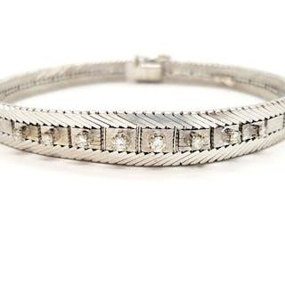 18 kts. Or blanc - Bracelet Diamant