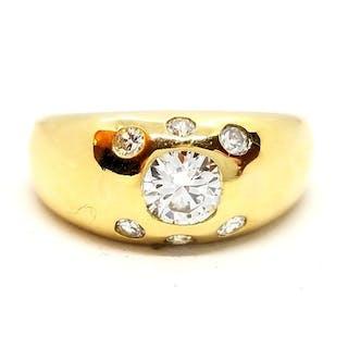 18 kts. Or jaune - Bague Diamant - Diamant