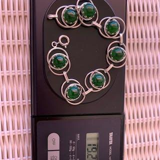 835 Silber - Armband Jade
