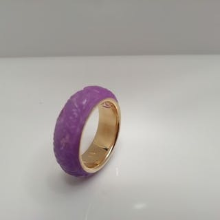 14kt, gold and lavender jade ring