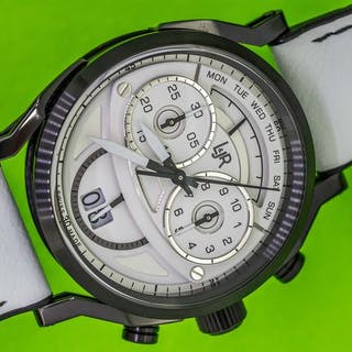 L&Jr - Chronograph Day and Date White Dial and Strap...