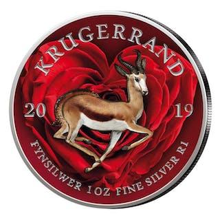 Südafrika - Krugerrand 2019 - Springbock- Herzmotiv - 1 Oz - Silber