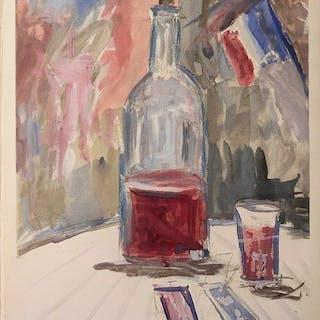Maurice Utrillo (1883-1955)- Nature morte au vin
