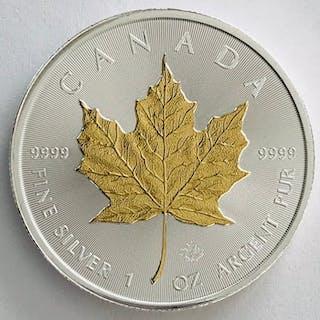 Kanada - 5 Dollars 2018 - Maple Leaf - Gilded - 1 oz - Silber