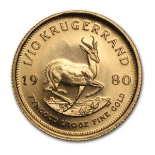 South Africa - 1/10 Krugerrand 1980 - 1/10 oz Erste Ausgabe - Gold