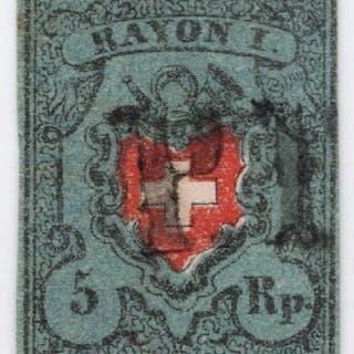 Schweiz 1850/1854 - Rayon I mit Kreuzeinfassung