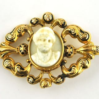 Antique Early 19th Century - 18 kt. Yellow gold - Brooch Camay