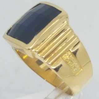 18 kt. Yellow gold - Ring Sapphire verneuil