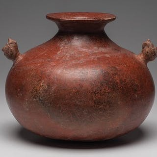 Pottery - Large Colima olla with two human shaman heads - Mexico