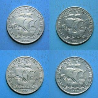 Portugal - República - 10 Escudos - 1932/1933/1934 & 1940 - Silver