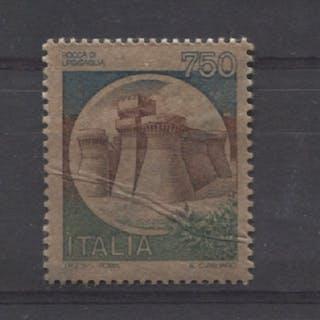"Italien Republik 1980 - 750 lire Castles ""Rocca di Urbisaglia"" on rejoined paper"