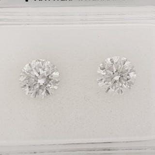 2 pcs Diamond - 1.25 ct - Brilliant - E - SI1