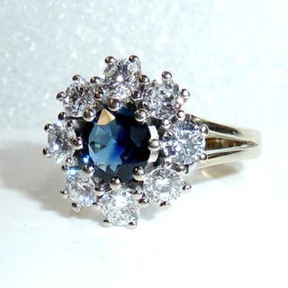 14 kt. White gold - Festive Gala Ring Diamonds 1.7 ct. / Sapphire 1.0 ct.