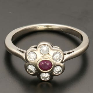 368243365e2d6 14 kt. White gold - Ring - 0.12 ct Ruby - Diamond – Current sales ...
