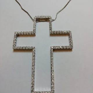 BPN S.p.A. - 18 carati Oro bianco - Collana con pendente - 0.90 ct Diamante