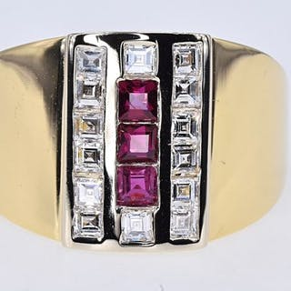 4ec71a7e88367 Yellow gold - Ring - 0.48 ct Ruby - 0.80 Ct Diamond – Current sales ...