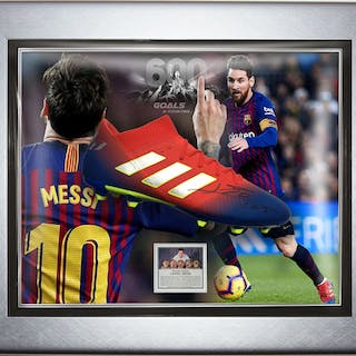 Signed & Framed Barcelona - Lionel Messi - 2019 - Adidas Nemeziz Boot