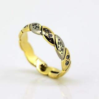 Mappin & Webb - 18 kt. White gold, Yellow gold - Ring - Diamonds