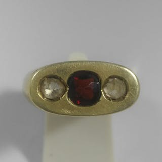 5d19834e79244 14 kt. Yellow gold - Ring - 0.80 ct Ruby - Diamonds – Current sales ...