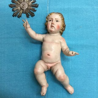 Polychrome wooden baby - polychrome wood sculpture - 17th century