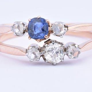 18 kt. Yellow gold - Ring Sapphire - Diamond