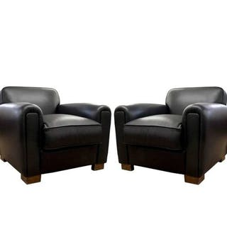 Art Deco Leather Club Armchairs (2)