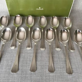 Christofle modèle Boréal - Cuillères à entremets (12) - Métal argenté