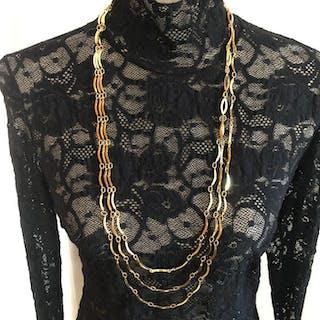 57e9505795a Yves Saint Laurent - Triple lange goldplatedNecklace – Current sales –  Barnebys.com