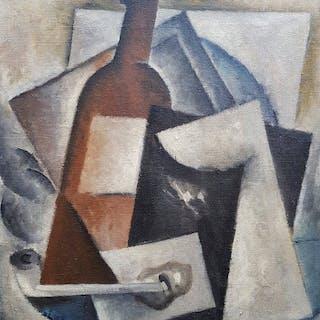 Ecole Cubiste XXe - Composition à la pipe et à la bouteille