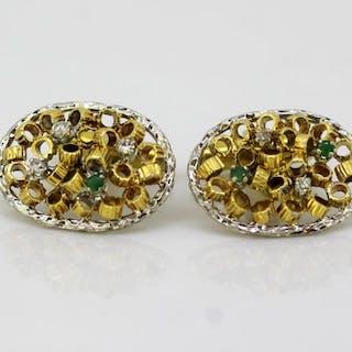 Other - 18 kt. Yellow gold - Cufflinks - Diamonds, Emerald