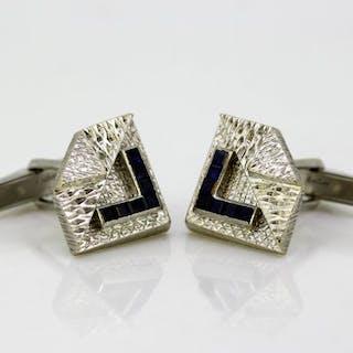 Kutchinsky - 18 kt. White gold - Cufflinks Sapphire