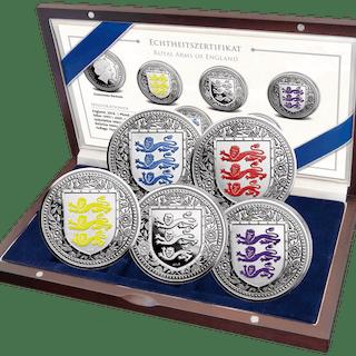 United Kingdom - 1 Pound 2018 Royal Arms of England Set 4 x PP 1 x Stgl