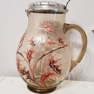 Emile Gallé - Large jug in smoked glass decorated with...