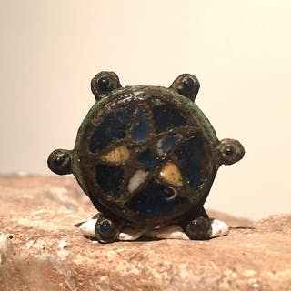 Early medieval Copper Anglo-Saxon disc brooch - 0×2.5×2.5 cm