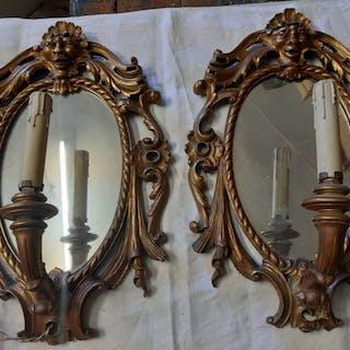 Applique, Due specchiere apliqe di legno intagliate