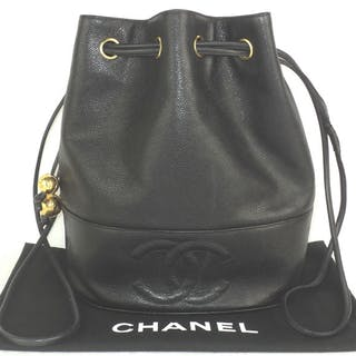 ab05e3807f8f Chanel Black Caviar Leather Drawstring Duffle Bag With.