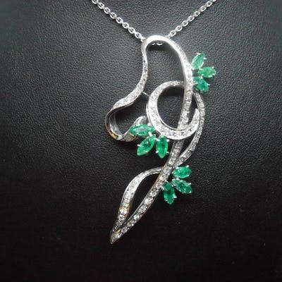 18 carati Oro bianco - Collana con pendente - 0.70 ct Diamante - Smeraldi